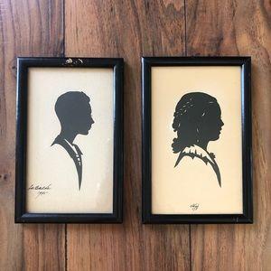 Antique Silhouette MINI Framed Pictures Pair